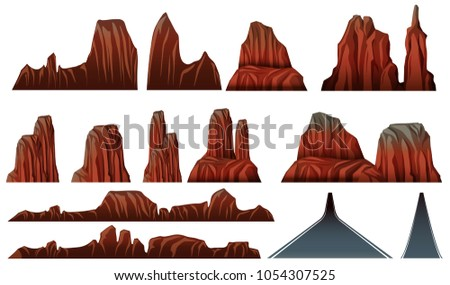 Different patterns of canyons and roads illustration