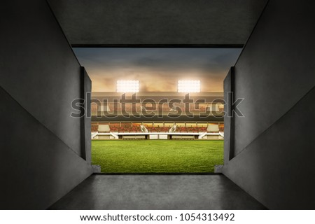 Soccer stadium entrance Royalty-Free Stock Photo #1054313492