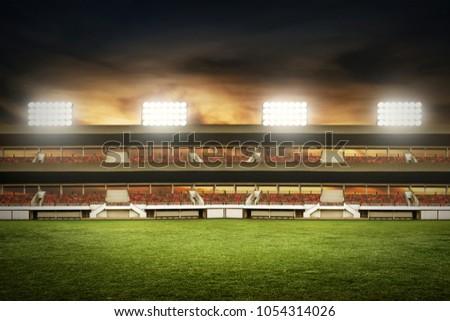 Soccer stadium field Royalty-Free Stock Photo #1054314026