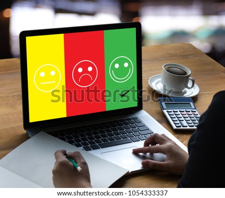 business man and woman select happy on satisfaction evaluation? And good mood smiley and evaluate #1054333337