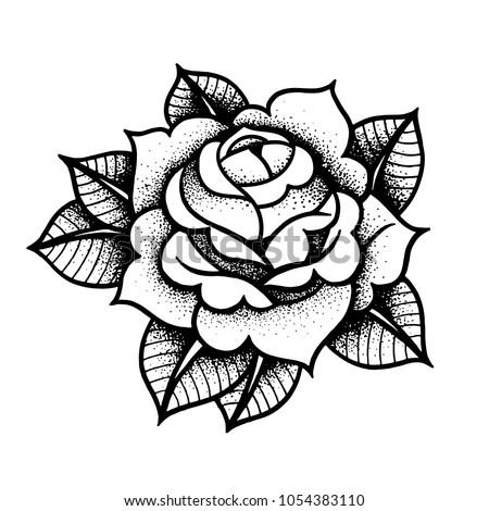Tattoo Rose flower.Tattoo, mystic symbol. Boho print, poster, t-shirt. textiles. Vector illustration art. Vintage engraving. Vintage style. Traditional art tattoos. Blackwork. Isolated vector Royalty-Free Stock Photo #1054383110