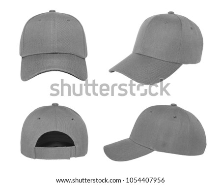 Blank baseball cap 4 view color grey on white background #1054407956