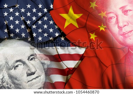 Serious trade tension or trade war between US and China, financial concept : Flags of USA and China with faces of Gorge Washington and Mao Zedong, depicts trade deficit between Washington and Beijing. #1054460870