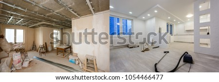 Comparison of a room in an apartment before and after renovation new house #1054466477