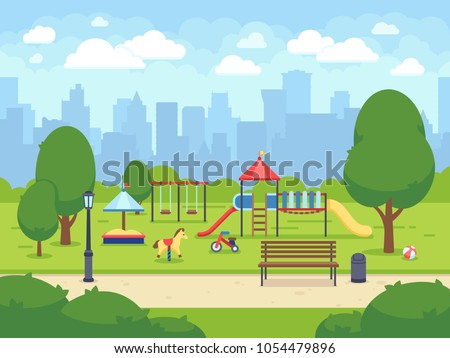 Urban summer public garden with kids playground. Cartoon vector city park with cityscape. Green park cartoon, landscape summer park illustration Royalty-Free Stock Photo #1054479896