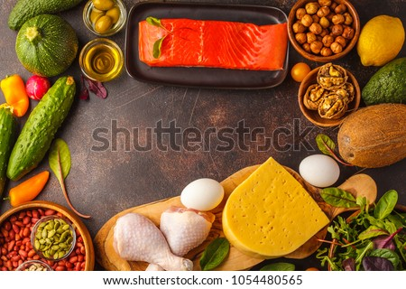Keto diet concept. Ketogenic diet food frame. Balanced low-carb food background. Vegetables, fish, meat, cheese, nuts on a dark background. #1054480565