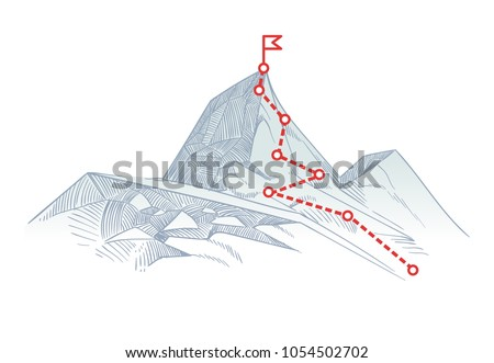 Mountain climbing route to peak. Business journey path in progress to success vector concept. Mountain peak, climbing route to top rock illustration