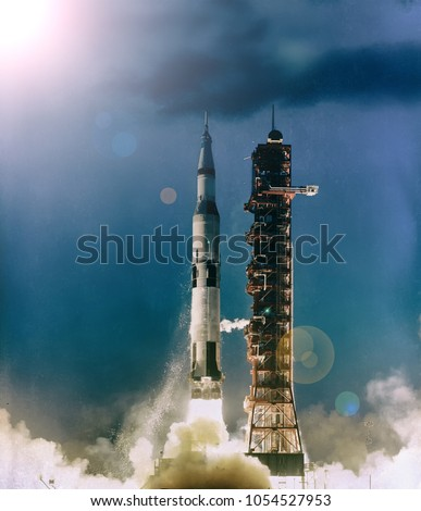 Rocket launch into dramatic sky. The elements of this image furnished by NASA.