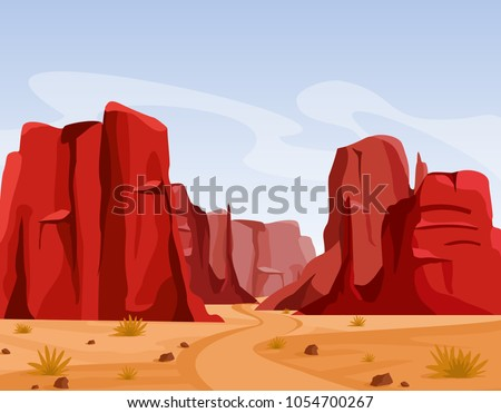 Vector illustration of Wild west Texas desert landscape with dry grass and red color mountains of canyon. Flat cartoon style for game art and animation game. #1054700267
