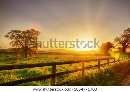 Glorious sunrise over grassy rural landscape in Norfolk UK with a two bar fence disappearing off into the distance. #1054771703