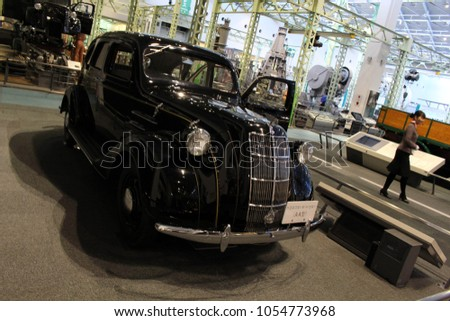 Translation: Exhibitions of Toyota models and production systems. Taken at Commemorative Museum of Industry and Technology in Nagoya, Japan - February 2018. #1054773968
