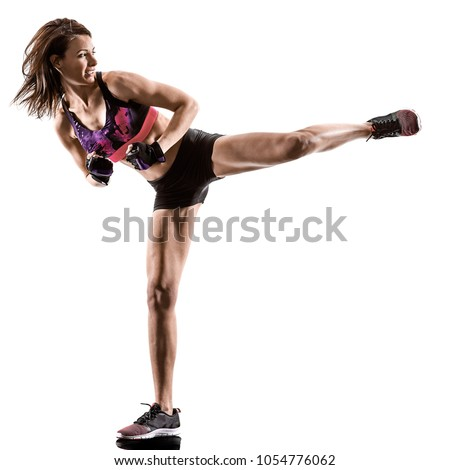 one caucasian woman exercising cardio boxing cross core workout fitness exercise aerobics silhouette isolated on white background Royalty-Free Stock Photo #1054776062