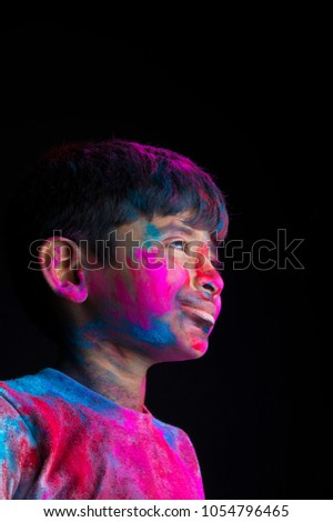 Portrait of kid on holi color festival #1054796465