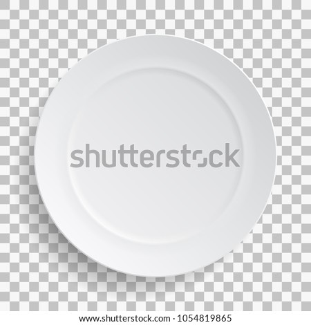 White dish plate isolated on transparent background. Kitchen dishes for food, kitchen, porcelain dishware. Vector illustration for your product, tableware design element. Royalty-Free Stock Photo #1054819865