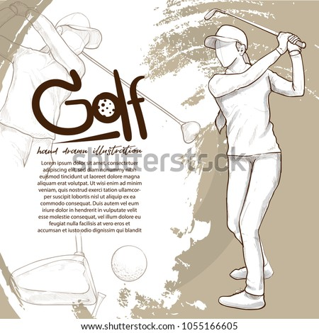 illustration of golf. drawing vector style. sport background design