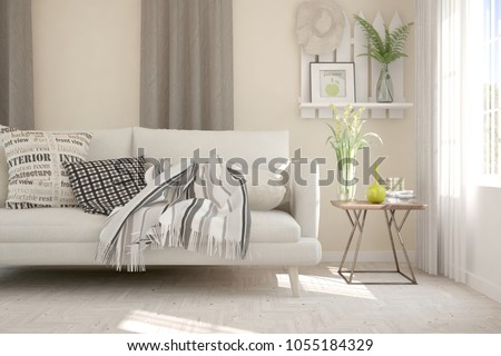Idea of white minimalist room with sofa. Scandinavian interior design. 3D illustration #1055184329