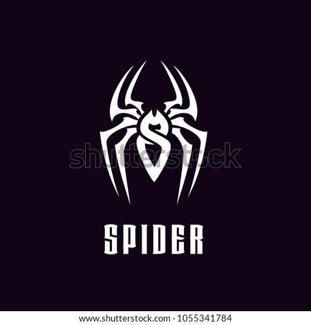 Initial Letter S Spider Man Insect Arthropod symbol logo design  silhouette