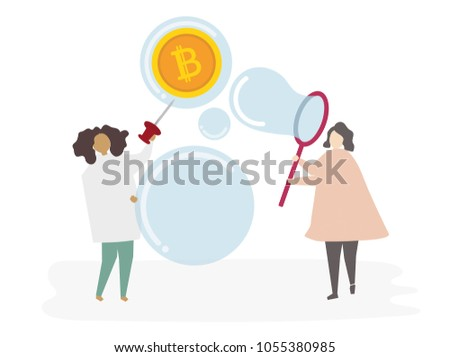 Illustrated people catching money #1055380985