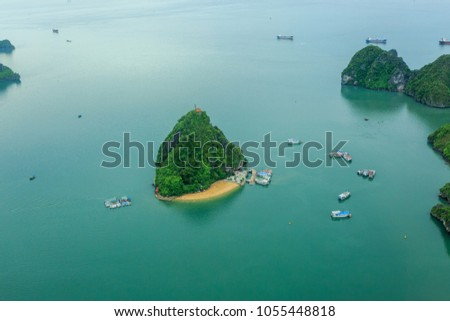 Ti Top Island, view from above, top view, scenic flight, seaplane, floatplane Royalty-Free Stock Photo #1055448818