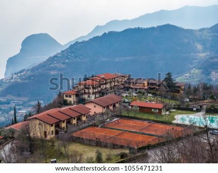 Limone sul Garda, Lombardy, Italy. 2018 March 23: a view on tennis club in Tremosine sul Garda #1055471231