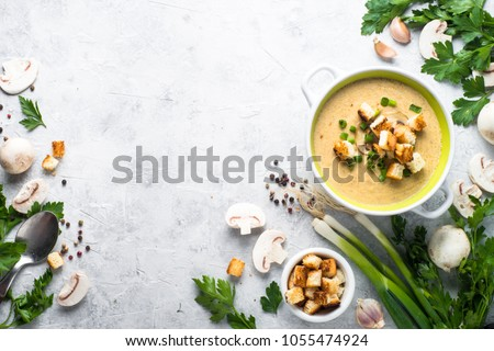 Mushroom Soup puree with croutons #1055474924