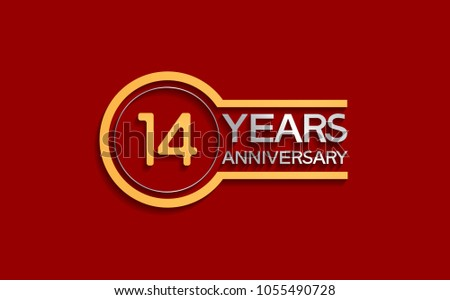 14 years anniversary golden and silver color with circle isolated on red background for celebration event #1055490728