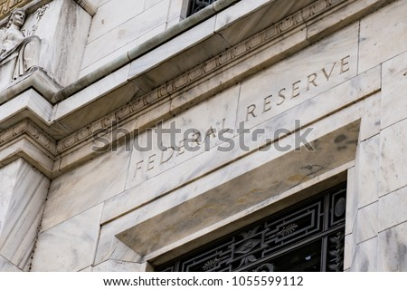 Facade on the Federal Reserve Building in Washington DC #1055599112