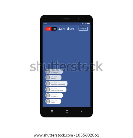 Mockup of video streaming app on a smartphone, inspired by Facebook and other similar apps. Modern design. Vector illustration.