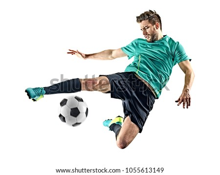 one caucasian soccer player man isolated on white background Royalty-Free Stock Photo #1055613149