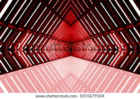 design of architecture metal structure similar to spaceship interior. abstract modern architecture in red light photo. #1055679104
