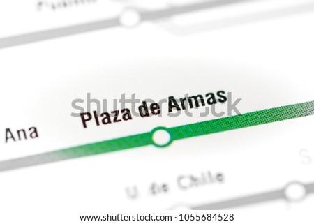 Plaza de Armas Station. Santiago Metro map. #1055684528