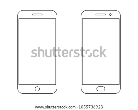Smartphone outline vector icon of mobile smart phone screen or modern android cellphone