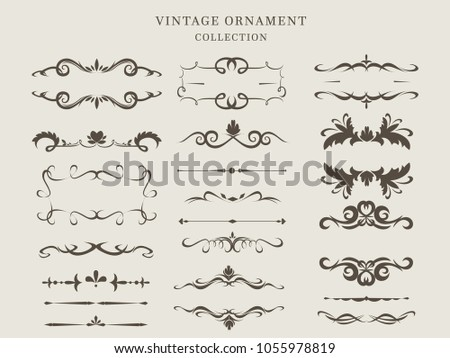 Ornate frames and scroll elements. Vector illustration Template #1055978819