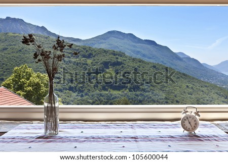 picture window, rural home interior