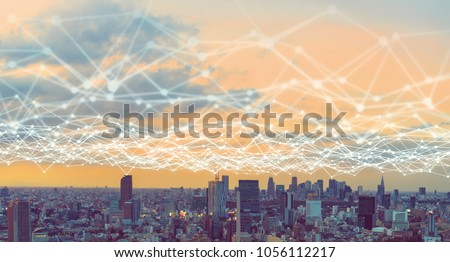 Modern city and communication network concept. Royalty-Free Stock Photo #1056112217