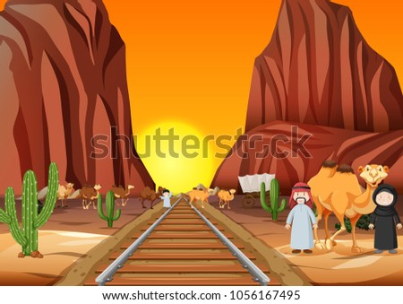 Camels and arab people crossing the railroad at sunset illustration #1056167495