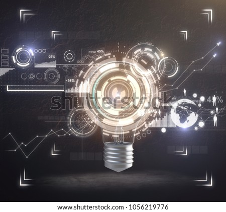 Lamp with glowing digital business interface on dark backdrop. Technology and innovation concept. 3D Rendering  #1056219776