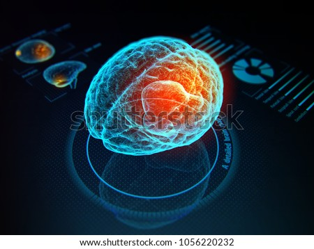 Virtual digital diagnostic of human brain on holographic model. 3d illustration.