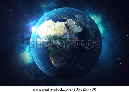 3D Rendering World Globe. Earth Globe with Backdrop Stars and Nebula. Earth, Galaxy and Sun From Space. Blue Sunrise. Elements of this image furnished by NASA. #1056267788