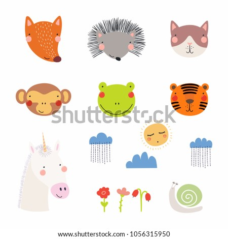 Set of cute funny hand drawn different animal faces, sun, clouds with rain, flowers, snail. Isolated objects. Vector illustration. Scandinavian style flat design. Concept for children print.