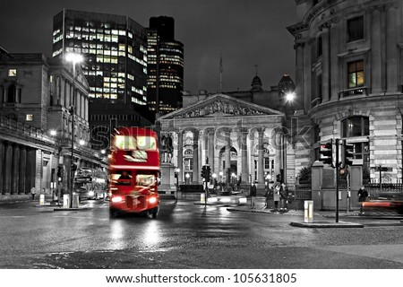 Royal Exchange London With Red Route master Bus Royalty-Free Stock Photo #105631805