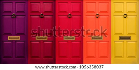 Colourful English Doors Royalty-Free Stock Photo #1056358037