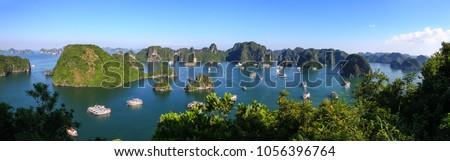 Halong bay panorama view Royalty-Free Stock Photo #1056396764