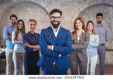 Group of happy business people and company staff in modern office, representing company. #1056397901