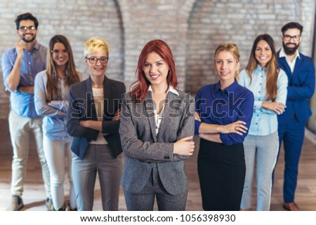 Group of happy business people and company staff in modern office, representing company. #1056398930