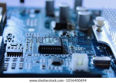 Printed blue circuit board, macro, background #1056400694