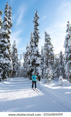 Woman cross country skiing in Lapland Finland #1056484499