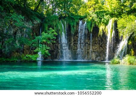 Plitvice Lakes waterfalls landscape #1056552200
