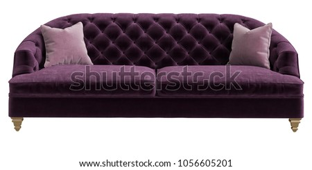 Classic tufted sofa purple color with 2 pink pillows isolated on white background.Front view.Digital illustration.3d rendering #1056605201