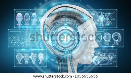 Digital artificial intelligence cyborg interface isolated on blue background 3D rendering #1056635636